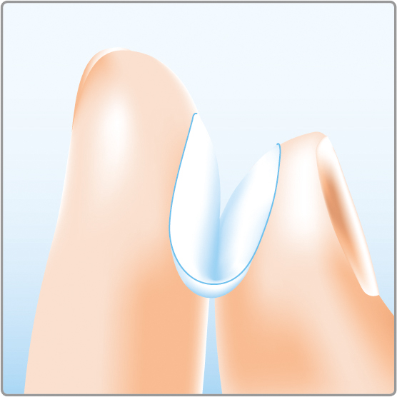 Finger mit Linse FALSCH