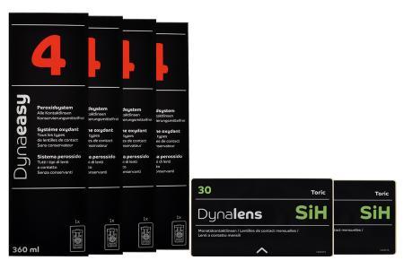 Dynalens 30 SiH Toric Kontaktlinsen von Dynoptic & Dynaeasy 4, Halbjahres-Sparpaket