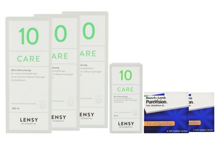 Halbjahres-Sparpaket, Pure Vision Toric Kontaktlinsen von Bausch & Lomb + Lensy Care 10