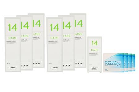 Jahres-Sparpaket, Pure Vision 2 HD Kontaktlinsen von Bausch & Lomb + Lensy Care 14