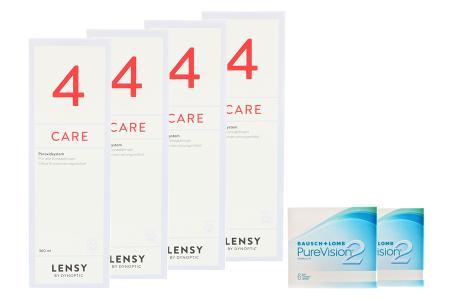 Halbjahres-Sparpaket, Pure Vision 2 HD Kontaktlinsen von Bausch & Lomb + Lensy Care 4