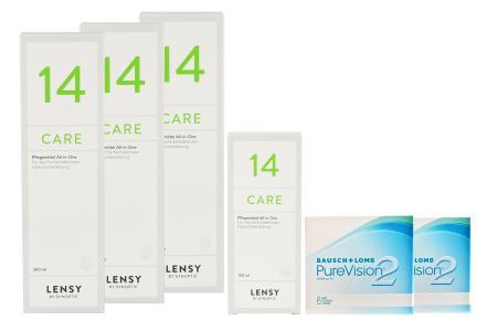 Halbjahres-Sparpaket, Pure Vision 2 HD Kontaktlinsen von Bausch & Lomb + Lensy Care 14
