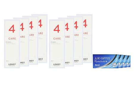Air Optix plus HydraGlyde 4 x 6 Monatslinsen + Lensy Care 4 Jahres-Sparpaket | Air Optix plus HydraGlyde Kontaktlinsen von Ciba Vision & Dynaeasy 4, Jahres-Sparpaket, Lensy Care