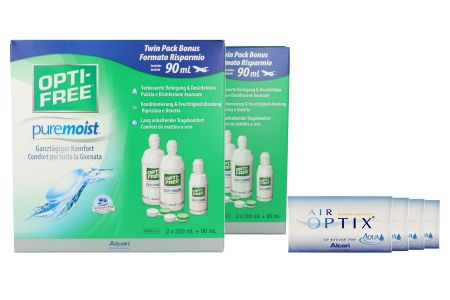 Air Optix Aqua Kontaktlinsen von Ciba Vision & Opti Free Pure Moist, Jahres-Sparpaket