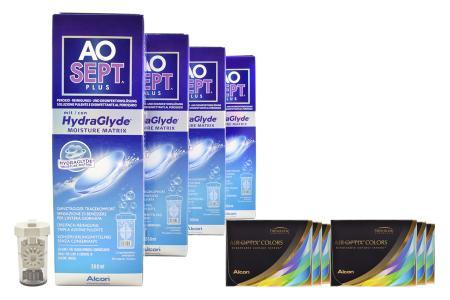 Air Optix Colors farbige Kontaktlinsen von Ciba Vision & AoSept Plus HydraGlyde, Halbjahres-Sparpaket
