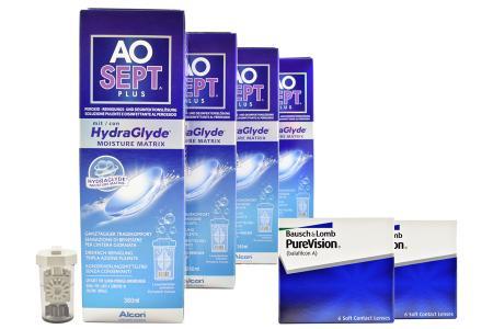 Halbjahres-Sparpaket, Pure Vision Kontaktlinsen von Bausch & Lomb + AoSept Plus HydraGlyde
