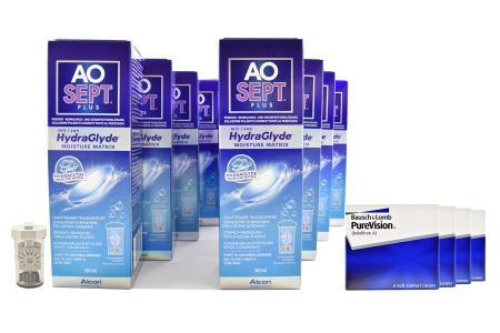 Jahres-Sparpaket, Pure Vision Kontaktlinsen von Bausch & Lomb + AoSept Plus HydraGlyde
