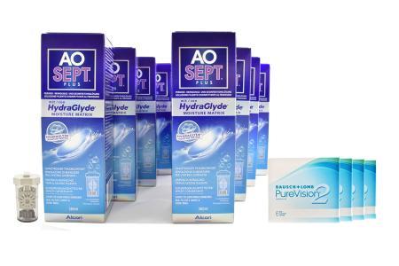 Jahres-Sparpaket, Pure Vision 2 HD Kontaktlinsen von Bausch & Lomb + AoSept Plus HydraGlyde