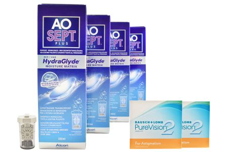 Pure Vision 2 HD For Astigmatism 2x6 Monatslinsen + AoSept Plus HydraGlyde Halbjahres-Sparpaket