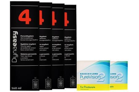 Jahres-Sparpaket, PureVision 2HD For Presbyopia, 4x6 Stück Kontaktlinsen von Bausch&Lomb+Dynaeasy 4