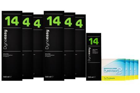 Jahres-Sparpaket, PureVision 2HD For Presbyopia, 4x6 Stück Kontaktlinsen von Bausch&Lomb+Dynaeasy 14