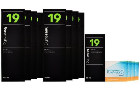 Jahres-Sparpaket, Pure Vision 2 HD For Presbyopia Kontaktlinsen von Bausch & Lomb + Dynaeasy 19