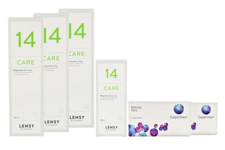 Biofinity toric Kontaktlinsen von Cooper Vision & Lensy Care 14, Halbjahres-Sparpaket