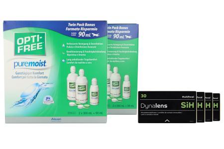 Dynalens 30 SiH Multifocal Kontaktlinsen von Dynoptic & Opti Free Pure Moist, Jahres-Sparpaket