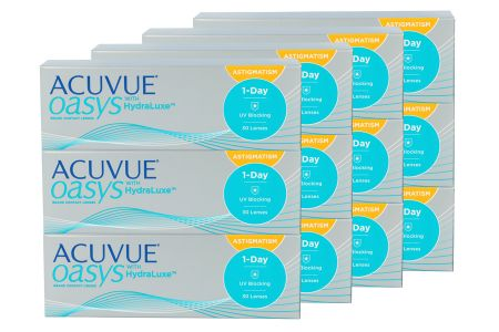 Acuvue Oasys 1-Day for Astigmatism with HydraLuxe Kontaktlinsen von Johnson&Johnson, Sparpaket 6 Monate 2x180 Stück