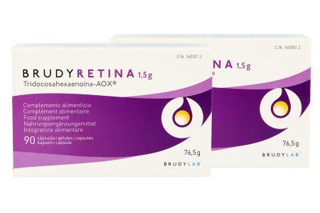 BrudyRetina 2 x 90 Kapseln Nahrungsergänzung | BrudyRetina 2 x 90 Kapseln, geeignet für Augen die an der Altersbedingten Makuladegeneration (AMD) ode einer diabetischen Retinophatie erkrankt sind.