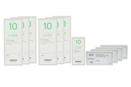 Lensy Monthly Soft Toric Kontaktlinsen von Dynoptic & Lensy Care 10, Jahres-Sparpaket