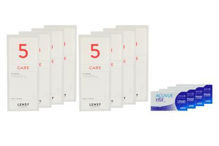 Acuvue Vita 4 x 6 Monatslinsen + Lensy Care 5 Jahres-Sparpaket | Acuvue Vita + Lensy Care 5 - Jahres-Sparpaket