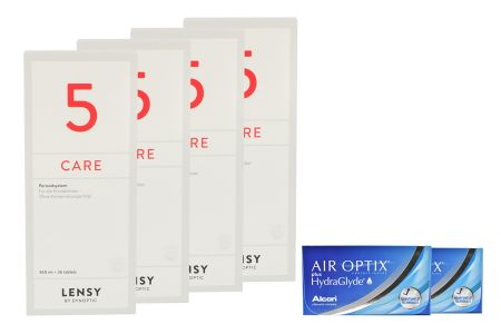 Air Optix plus HydraGlyde 2x6 Monatslinsen + Lensy Care 5 Halbjahres-Sparpaket