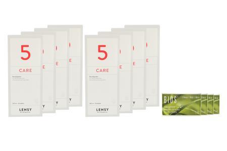 Bios 1-Monat 4 x 6 Monatslinsen + Lensy Care 5 Jahres-Sparpaket | Bios 1-Monat Kontaktlinsen von Cooper Vision + Lensy Care 5 - Jahres-Sparpaket