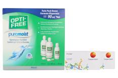 Proclear 2 x 6 Monatslinsen + Opti Free Pure Moist Halbjahres-Sparpaket